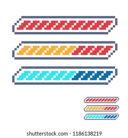 Life bar 8-bit elements pixel art. progressor, stamina, power, energy, mana level, money reserve isolated vector illustration. Classical game themed design.