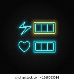 Life bar, hearts, retro style neon icon. Blue and yellow neon vector icon.