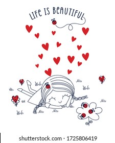 life is beautiful. cute girl. heart. flower and ladybug. girl graphic tees vector illustration design and other uses