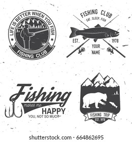 Life is better when you fish. Vector illustration. Concept for shirt or logo, print, stamp or tee. Vintage typography design with Fisherman, river, rainbow trout, bear and mountain silhouette.