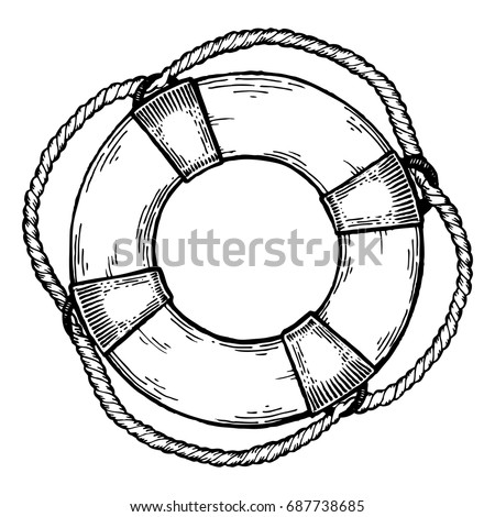 Life Buoy Engraving Vector Illustration Scratch Stock Vector