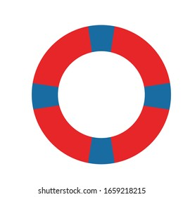 Life buoy icon isolated on white background. Classic blue and red. Simple vector flat design style. Cartoon style. Rescue equipment. Icon for interface design. For postcards, kids design and posters
