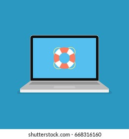 Life buoy icon on computer screen. Web Support modern flat vector illustration.