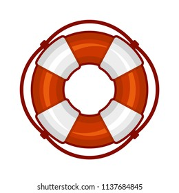 Life Buoy Icon on White Background. Vector