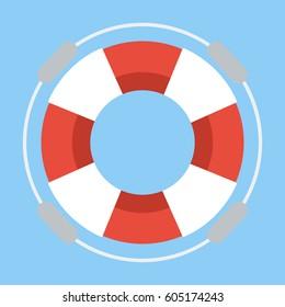 Life buoy on  flat design.