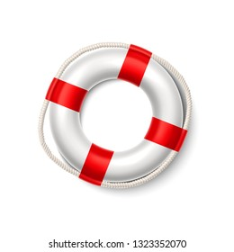 Life buoy. Realistic safety ring with red stripes. Shipwreck rescue equipment. Inflatable sos, help symbol. Survival water float. Vector white and red lifeguard. Travelling and adventure symbol.