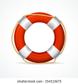 Life Buoy Ring Red. The symbol of saving. Vector illustration