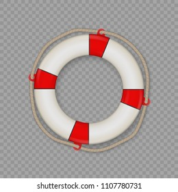 life buoy with rope isolated. Vector lifesaver