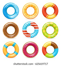 Life buoy swimming rings colorful realistic icons collection with american flag and chocolate doughnut isolated vector illustration