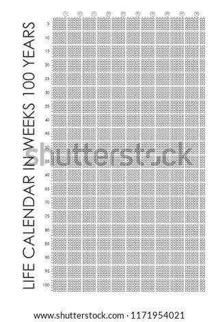 Life Calendar Your Life Weeks 100 Stock Vector Royalty Free