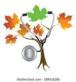 Life Changes Medical A tree with orange foliage representing autumn and end of life. one green leaf represents vitality. A stethoscope is hanging from  the green leaf