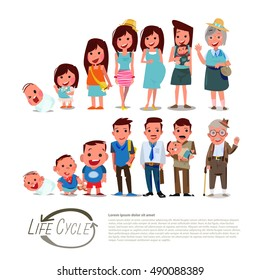 Life circle character design childhood to old age. male and female - vector illustration