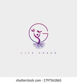 Life coach logo design vector , G letter life coach logo design vector