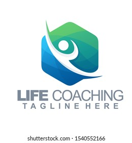 life coaching logo vector, template, illustration