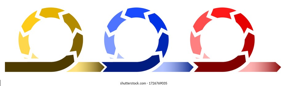 Life cycle development process diagram, infographic with three circles in different colors