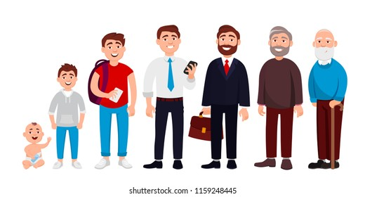 Life cycle of man from childhood to old age vector flat illustration. Cheerful cute cartoon characters isolated on white background for infographic design and web graphic.