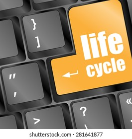 life cycle on laptop keyboard key vector