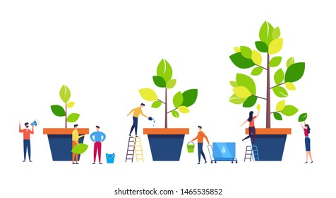 Life Cycle, Time line and growth metaphor, grow stages of Tree from Seed to Large Plant, Small people are watering plants in pots. Colorful cartoon style flat vector illustration
