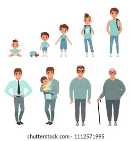 Life cycles of man, stages of growing up from baby to man vector Illustration
