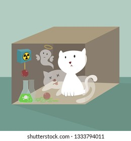 The life and death of Schrodinger's cat vector illustration. Schrodinger's famous thought experiment.  Quantum superposition cat. A cat, a flask of poison, and a radioactive source in a box.