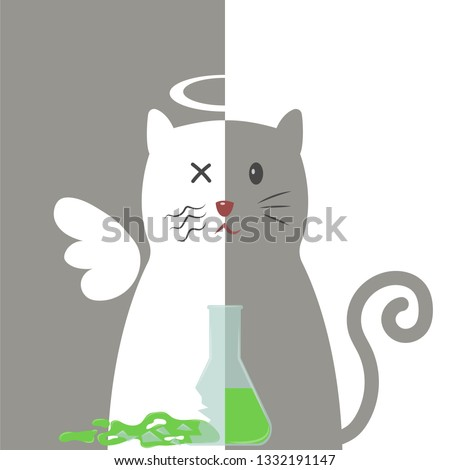 5c2e38386 The life and death of Schrodinger's cat vector illustration. Schrodinger's  famous thought experiment. Half