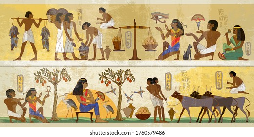 Life of egyptians. History art. Agriculture, fishery, farm. Ancient Egypt frescoes. Old tradition, religion and culture. Hieroglyphic carvings on exterior walls of an old temple