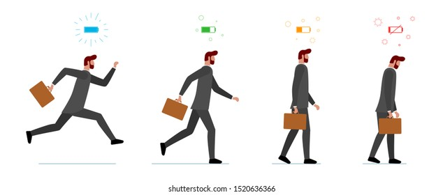 Life energy full and tired businessman. Powerful person with high charge and uncharged battery level indicator set. Worker male concept. Business man running and low power weak walking illustration