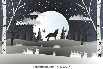 life in the forest with a huge full moon and wolf. design paper art and handicraft