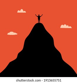 Life goal concept vector illustration. A man standing on the top of high mountain in flat design. Symbol of success, goal, achievement in life.