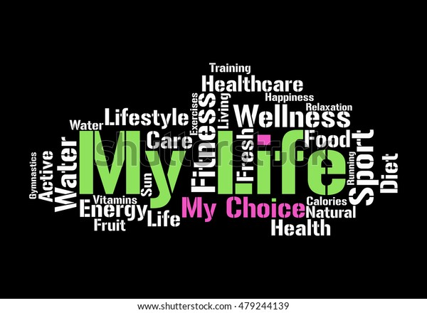Life Healthcare Word Cloud Active Lifestyle Stock Vector