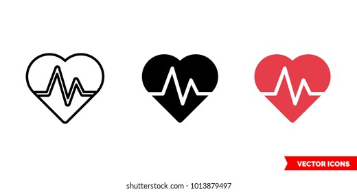 Life icon of 3 types: color, black and white, outline. Isolated vector sign symbol.