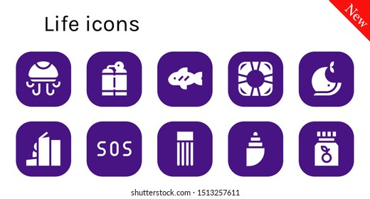 life icon set. 10 filled life icons.  Collection Of - Jellyfish, Oxygen tank, Fish, Lifesaver, Whale, Homeless, Sos, Float, Shell, Vitamin c icons