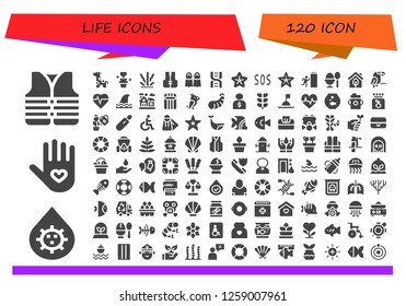 life icon set. 120 filled life icons. Simple modern icons about  - Lifejacket, Blood, Insurance, Giraffe, Plant, Seaweed, Fins, Dna, Starfish, Sos, Exit, Boiled egg, Eco, Parrot