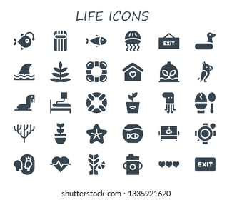 life icon set. 30 filled life icons.  Collection Of - Anglerfish, Inflatable, Fish, Jellyfish, Exit, Rubber ring, Shark, Fern, Lifebuoy, Home, Plant, Parrot, Sea lion, Blood donation