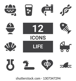 life icon set. Collection of 12 filled life icons included Shark, Broken heart, Inflatable, Life, Pushchair, Scallop, Fish bone, Fresh, Dna, Boiled egg, Nest