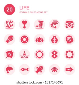 life icon set. Collection of 20 filled life icons included Coral, Blood, Parrot, Shrimp, Gas mask, Fish, Lifebuoy, Ladybird, Insurance, Manta ray, Buoy, Lifesaver, Floats, Dolphin