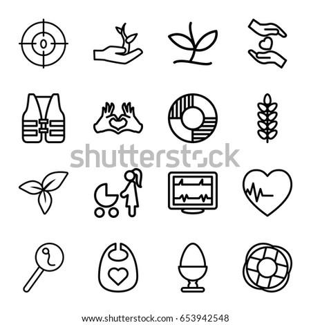 Life Icons Set Set 16 Life Stock Vector Royalty Free 653942548