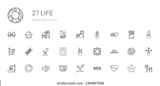 life icons set. Collection of life with broken heart, plant, fishbowl, fishes, lifesaver, death, balance, lifebuoy, home, sprout, dna, growth. Editable and scalable life icons.