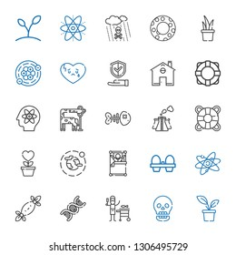 life icons set. Collection of life with plant, skull, fish, dna, tissues, atom, organic eggs, wake up, environment, growth, lifesaver, pollution. Editable and scalable life icons.