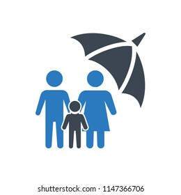 Life insurance icon illustration isolated vector sign symbol - family insurance icon vector blue