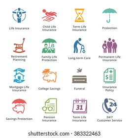 Life Insurance Icons - Colored Series