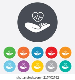 Life insurance sign. Hand holds human heart symbol. Health insurance. Round colourful 11 buttons. Vector