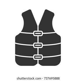 Life jacket glyph icon. Boating life vest. Silhouette symbol. Negative space. Vector isolated illustration