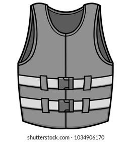 Life Jacket Illustration - A vector cartoon illustration of a Life Jacket.