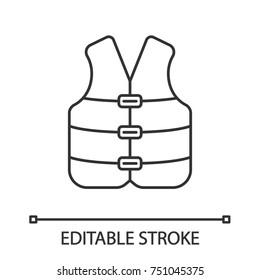 Life jacket linear icon. Boating life vest. Contour symbol. Vector isolated outline drawing. Editable stroke