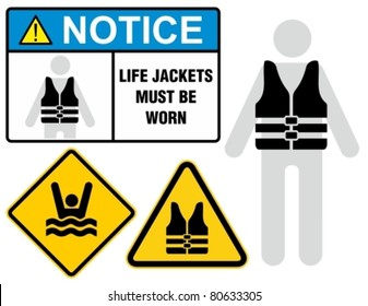 Life jacket, notice sign.