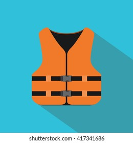 life jacket with orange color and flat style vector illustration