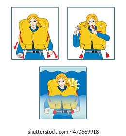 Life jacket. Safety on board. Vector illustration.