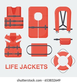 Life jackets set, Flat design of different types of floatation devices, vector illustration