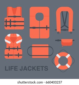 Life jackets types vector flat icons set, Flat design of different types of floatation devices, vector illustration